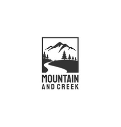 mountain and creek vector image