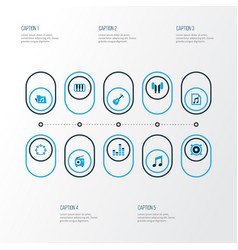 Multimedia icons colored set with dossier music vector
