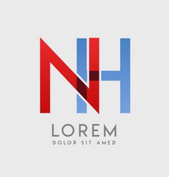 Nh logo letters with blue and red gradation vector