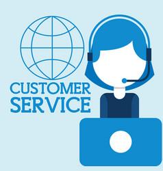 Operator woman headset laptop world customer vector