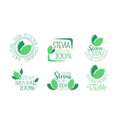 organic stevia logo templates set natural vector image