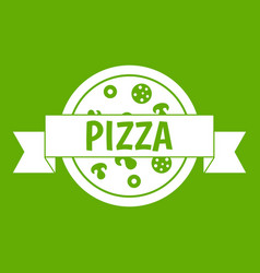 pizza label with ribbon icon green vector image vector image
