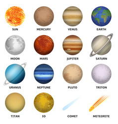 planets icon set realistic style vector image