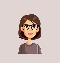 Portrait a young woman wearing glasses vector