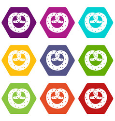 Pretzels icon set color hexahedron vector