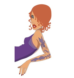 red-haired girl with tatto vector image