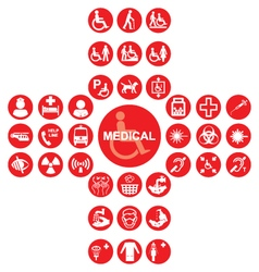 Red medical and health care icon collection vector