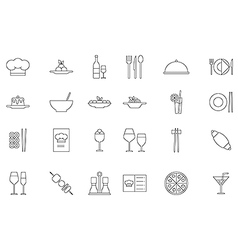 Restaurant food black icons set vector image