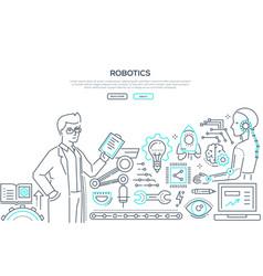 robotics - line design style vector image