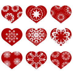 Romantic red heart set symbol of valentines day vector