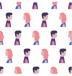 Seamless pattern with women and men faces flat vector