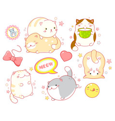 Set cute cats in kawaii style vector
