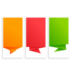 Set empty origami chat bubble banner vector