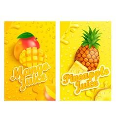 Set fresh mango and pineapple juice background vector
