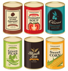 Set of a tin cans with labels vector