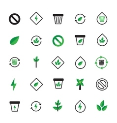 Set of black green ecology icons Ecological vector image