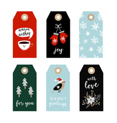 set of cute christmas gift tags labels with bird vector image