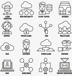 Set of linear cloud computing icons - part 1 vector image
