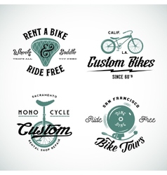 Set of Retro Bicycle Custom and Rental vector image