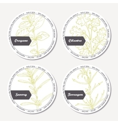 Set of stickers for package design with oregano vector image