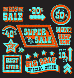 set of super sale and discount tags vector image