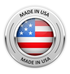 Silver medal Made in USA with flag vector image