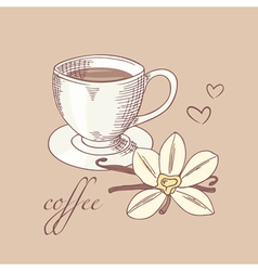 Sketched cofee cup with vanilla flower vector image