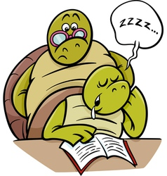 sleeping turtle on lesson cartoon vector image