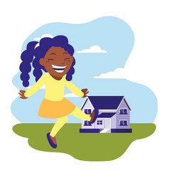 smiling girl standing near house vector image