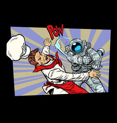 space food astronaut fight with chef vector image