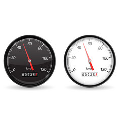 Speedometer black and white speed gauge with vector
