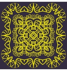 Stylized mandala of yellow color over dark vector image