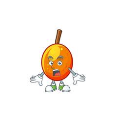 Surprised tropical jocote fruit cartoon for design vector