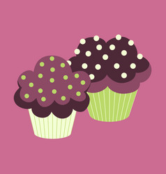sweet dessert in flat design cupcakes vector image