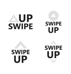 swipe up icon set isolated on white background vector image