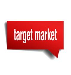 Target market red 3d speech bubble vector