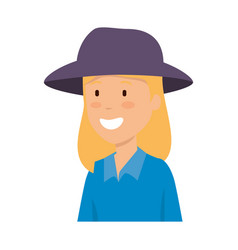tourist woman with hat character vector image