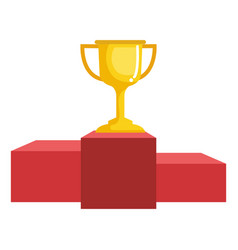 Trophy cup with podium isolated icon vector
