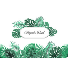 Tropical jungle island border frame header footer vector