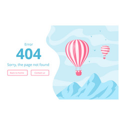 Website interface template for 404 error message vector