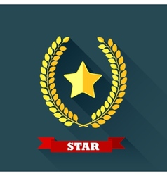 with laurel wreath and star in flat design with vector image vector image