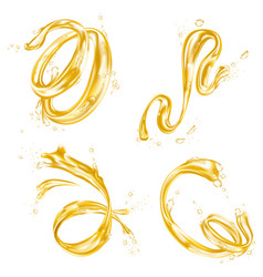yellow liquid splash wave oil or juice drops flow vector image