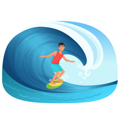 Young man riding a surfboard in wave vector