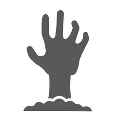 zombie hand glyph icon undead and halloween vector image