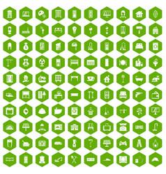 100 comfortable house icons hexagon green vector image vector image