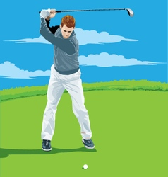 a man playing golf vector image
