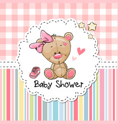 Baby shower greeting card with bear vector