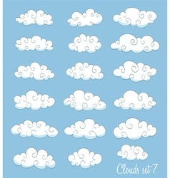 set of cute cartoon white clouds vector image vector image