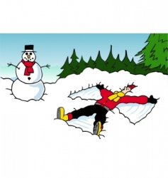 snow angel vector image vector image