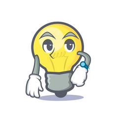 waiting light bulb character cartoon vector image vector image
